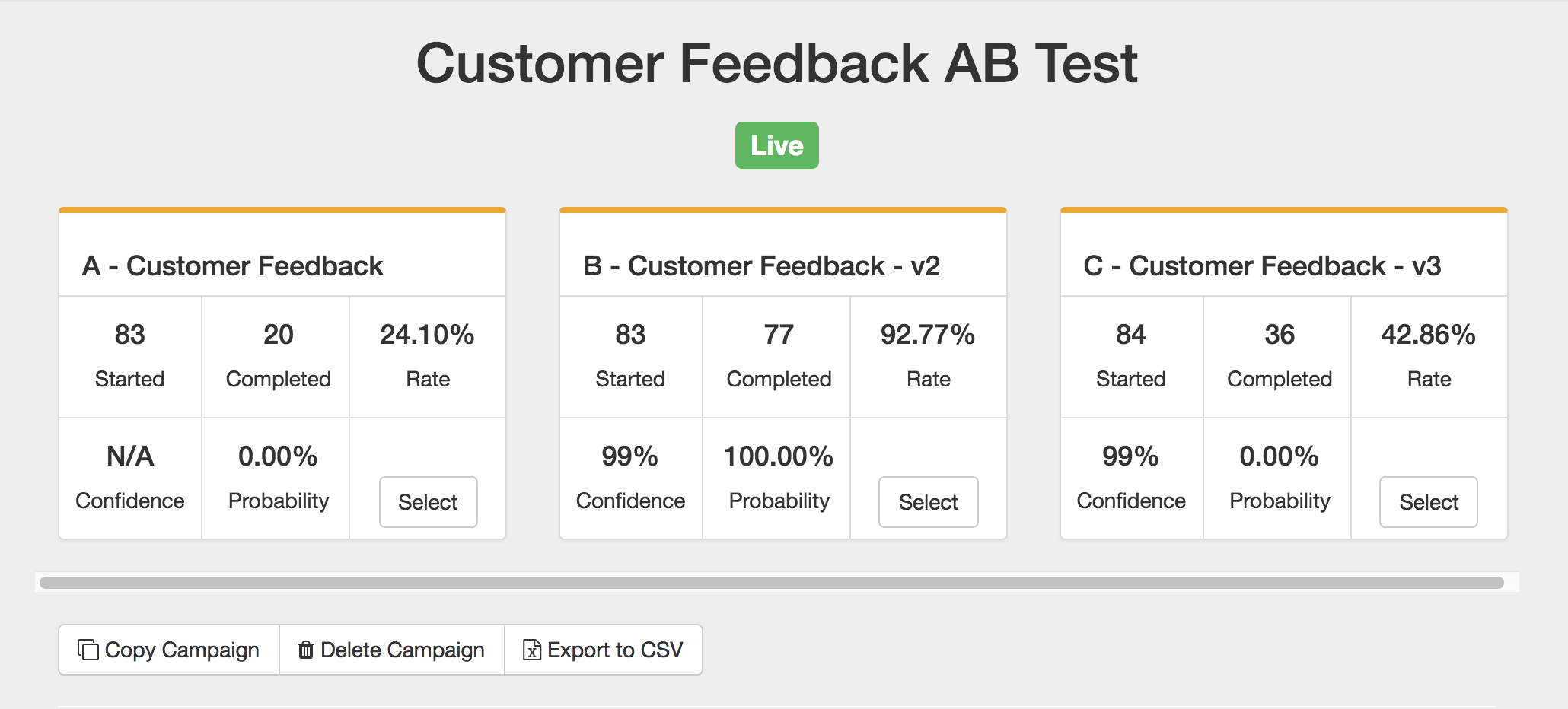 AB Testing Chatbot Surveys Dashboard